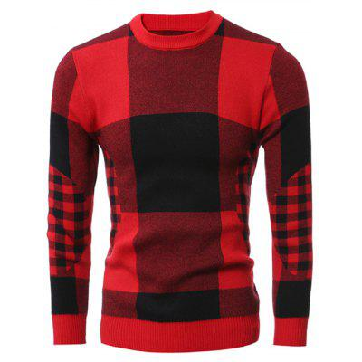 Slim-Fit Crew Neck Plaid Sweater