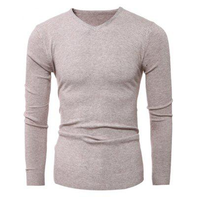Buy APRICOT Slim-Fit V-Neck Stretchy Pullover Knitwear for $12.36 in GearBest store
