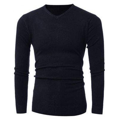 Buy CADETBLUE Slim-Fit V-Neck Stretchy Pullover Knitwear for $12.36 in GearBest store