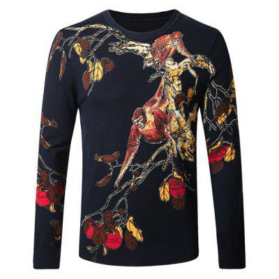 Monkey Tree Print Pullover Sweater