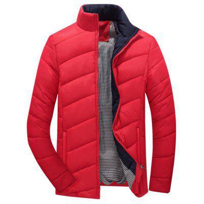 Zip Up Plaid Lining Padded Jacket