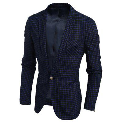 Single Breasted Notch Lapel Chest Pocket Gingham Blazer
