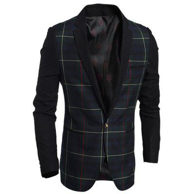 Double Welt Pocket Notch Lapel Plaid One-Button Blazer