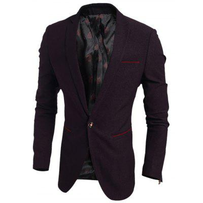 Contrast Trim Pocket Notch Lapel One-Button Blazer