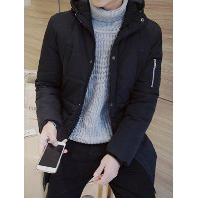 Hooded Thicken Zip Up Longline Padded Coat