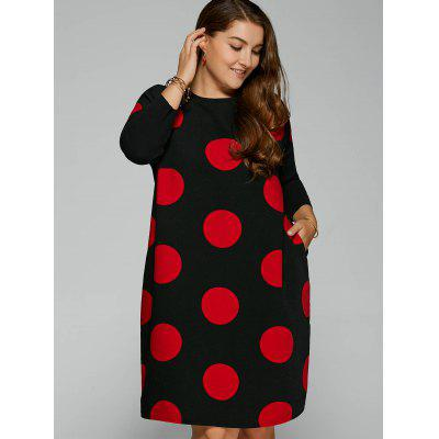 Side Slit Big Polka Dot Plus Size Dress