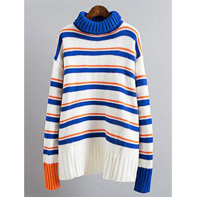 Color Block Drop Shoulder Turtleneck Sweater