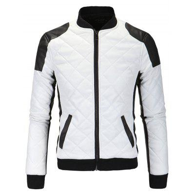 Color Block Splicing Argyle Zip-Up Cotton-Padded PU-Leather Jacket