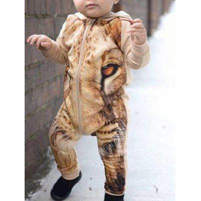 Lion 3D Print Zip Up Jumpsuit