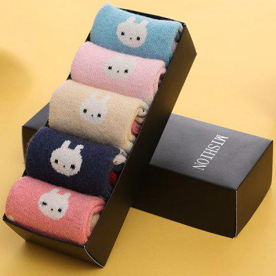 One Set Rabbit Pattern Macarons Candy Color Socks