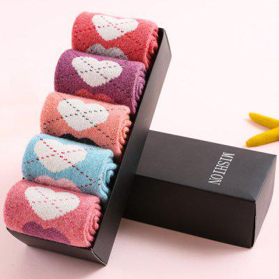 One Set Dotted Line Loves Pattern Macarons Candy Color Socks