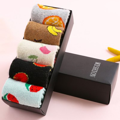 Candy Color One Set Fruits Flanging Thicken Socks