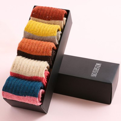 Color Block Flanging Thicken Socks