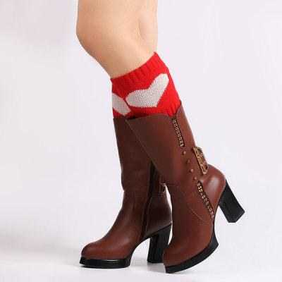 Warm Stripy Heart Knit Boot Cuffs