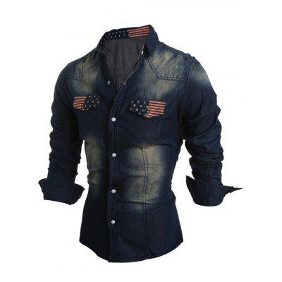 Flag Pattern Snap Button Up Denim Shirt