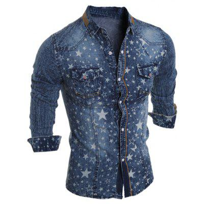 Buy DEEP BLUE Star Printed Long Sleeve Pocket Jean Shirt for $9.80 in GearBest store