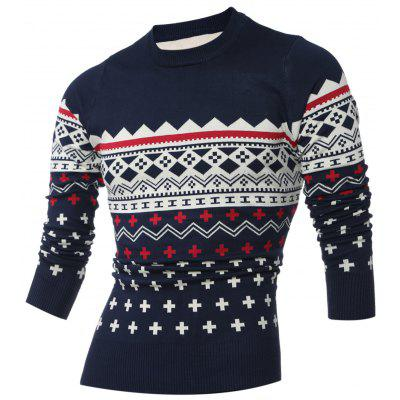 Crew Neck Geometric Pattern Long Sleeve Sweater