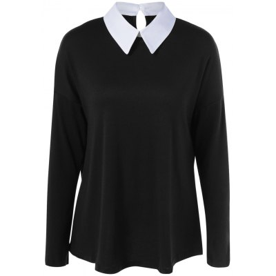 Buy BLACK Flat Collar Chiffon Panel Plus Size Blouse for $7.14 in GearBest store