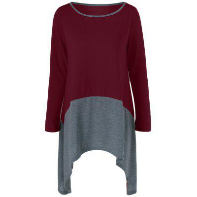 Buy GRAY AND RED Plus Size Asymmetrical Contrast Trim T-Shirt for $7.41 in GearBest store