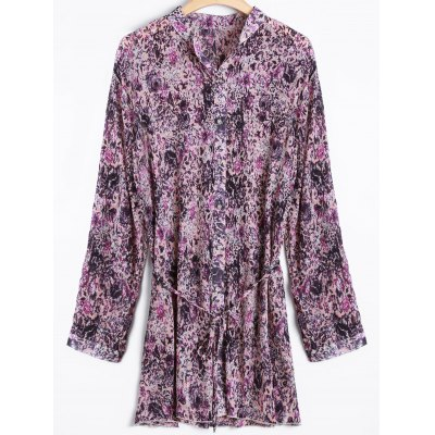 Tiny Floral Belted Vintage Shirt-Kleid