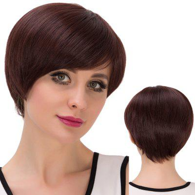 Ultrashort Oblique Bang Bob Straight Synthetic Wig