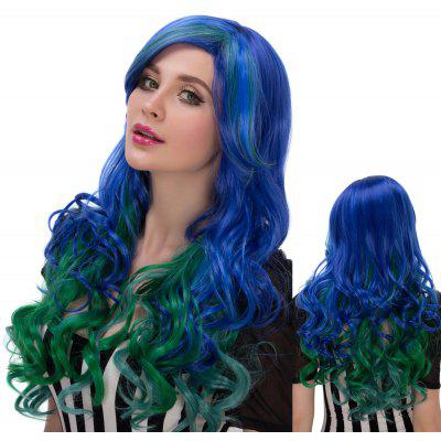 Faddish Colorful Long Side Parting Wavy Film Character Cosplay Wig