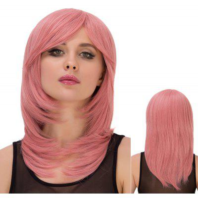 Buy PINK Long Layered Tail Adduction Side Bang Straight Fresh Pink Film Character Cosplay Wig for $24.25 in GearBest store
