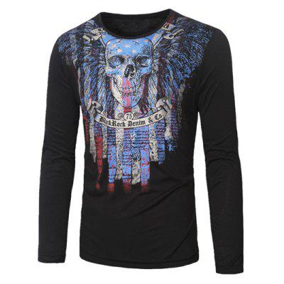 Buy BLACK Crew Neck Skull and Striped Print Long Sleeve T-Shirt for $14.70 in GearBest store