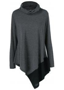 Plus Size Cowl Neck Asymmetrical Pullover