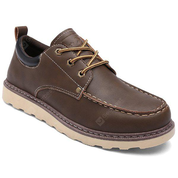 BROWN PU Leather Stitching Lace-Up Work Shoes