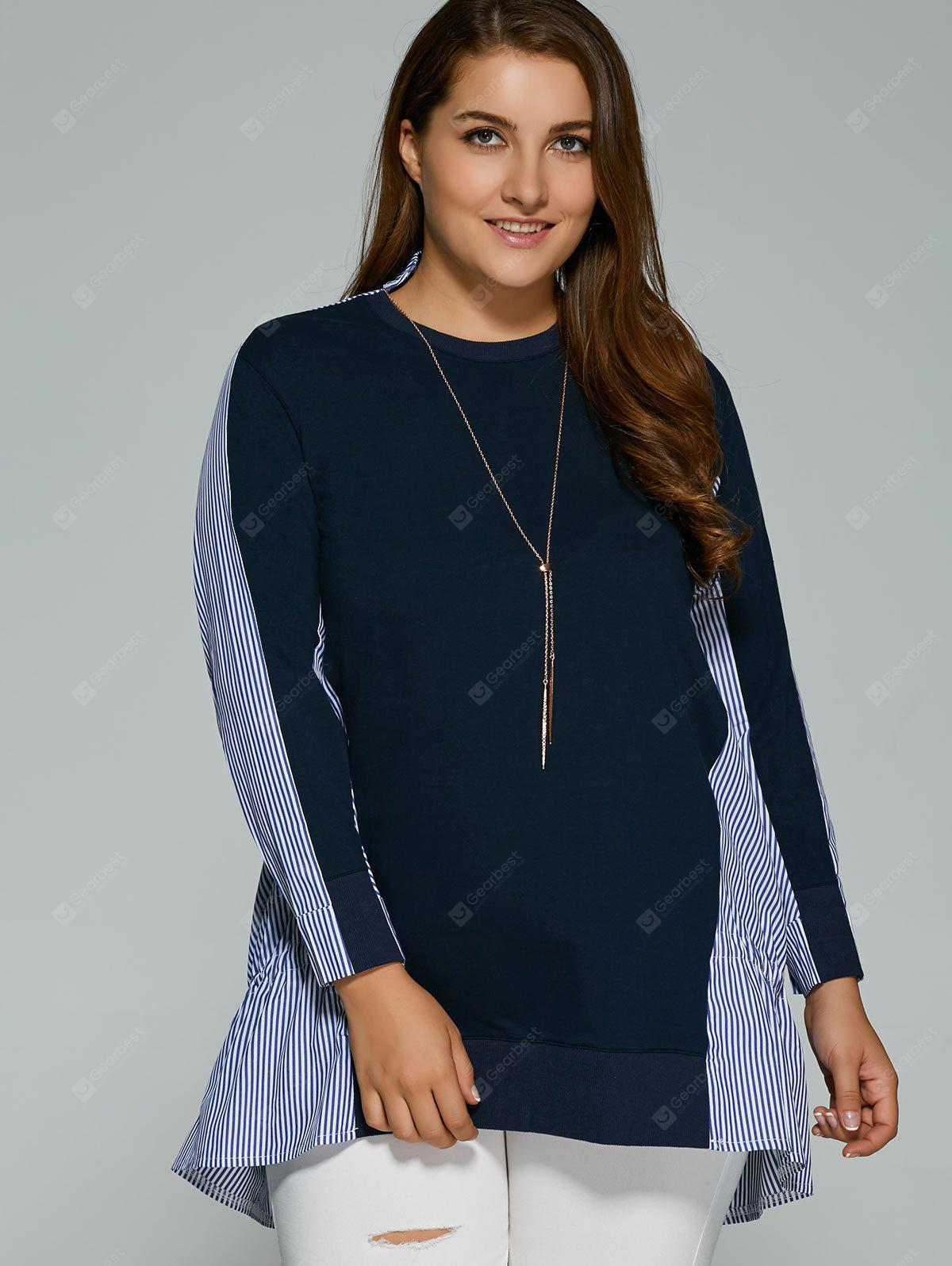 Fall Striped Patch-Design Long Sleeve Top