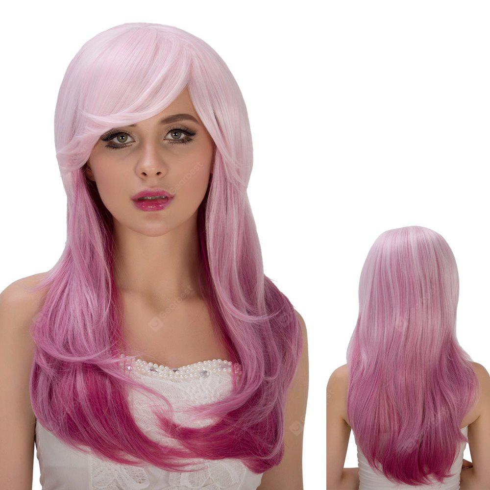 Vivid Long Side Bang Straight Tail Adduction Pink Ombre Film Character Cosplay Wig