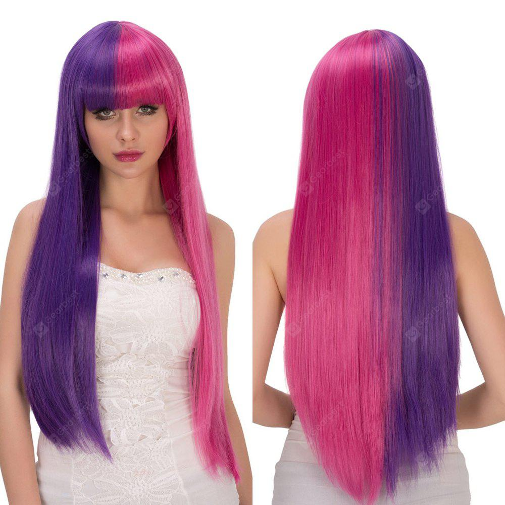 Fashion Long Full Bang Straight Purple Red Double Color Film Character Cosplay Wig