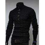 Buy Stand Collar Half Button Twist Sweater 2XL BLACK
