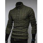 Buy Stand Collar Half Button Twist Sweater L ARMY GREEN
