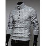 Buy Stand Collar Half Button Twist Sweater L LIGHT GRAY