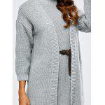 High Neck Belted Sweater Dress and Collarless Cardigan - GRAY