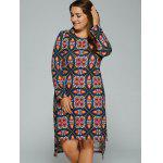 cheap Plus Size Tribal Print High-Low Dress