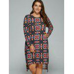 Plus Size Tribal Print High-Low Dress