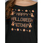 Plus Size Long Sleeve Brief drucken Hallowmas T-Shirt - SCHWARZ