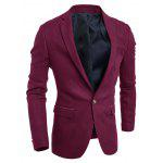 Torna Vent Notch risvolto Breasted Pocket One-Button Blazer - VINO ROSSO