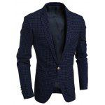Tek Breasted Çentik Yaka Göğüs Pocket Gingham Blazer - CADETBLUE