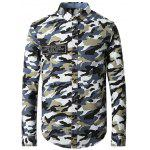 Turn-Down Collar Camo Printed Long Sleeve Shirt - CAMOUFLAGE COLOR