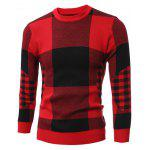 cheap Slim-Fit Crew Neck Plaid Sweater