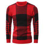 Slim-Fit Crew Neck Plaid Sweater - RED