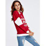 cheap Letter Color Block Loose Sweatshirt