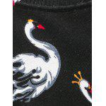 Crew Neck Swan Pattern Color Block Long Sleeve Sweater deal