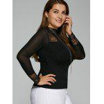 Plus Size Lace Insert Elastic T-Shirt deal