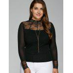 Plus Size Lace Insert Elastic T-Shirt with Long Sleeve - BLACK