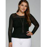 cheap Plus Size Hazy Yarn Insert Elastic T-Shirt